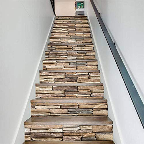HYLCH Wandaufkleber 13 Teile/Satz DIY 3D Treppe Aufkleber Stein Muster Abnehmbare Schritte Treppen Aufkleber Boden Wanddekor Aufkleber Aufkleber Dekoration -