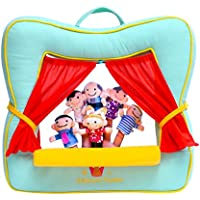 BETTERLINE Finger Puppet Theater Stage by Better Line - Set Includes 6 Finger Family Puppets - Portable Plush Finger Puppet Theater is The Best Preschool Kids Toy (Spring Green Color)