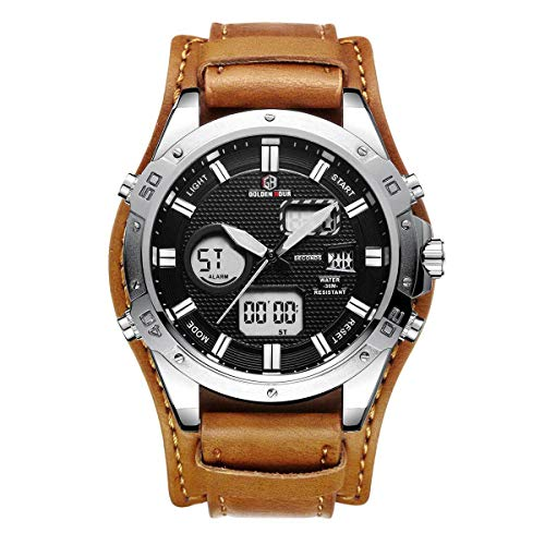 Montres Homme Grand Cuff Watches Dual Time 12h/24h...