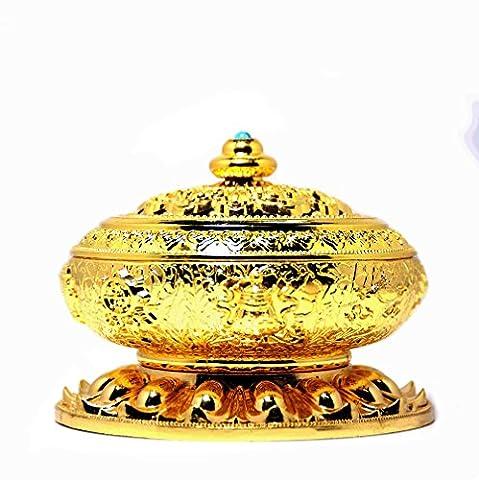 ipuis Räuchergefäß Chinese Bronze Kupfer Lotus Tibet Acht Schätze Halter für Räucherkerze Schwenkräuchergefäß Räucherstäbchenhalter Legierung Weihnachts Geburtstag Geschenke Home Décor für Stick Konus Coil Räucherstäbchen gold