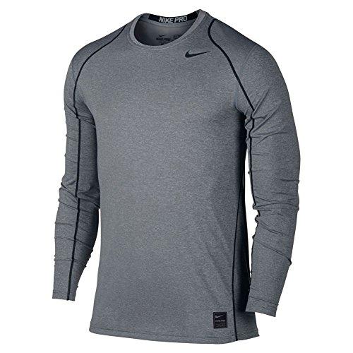 Nike M Np Hprwm Top Fttd Ls-Maglietta a maniche lunghe da uomo Il carbonio Heather/Nero/Nero