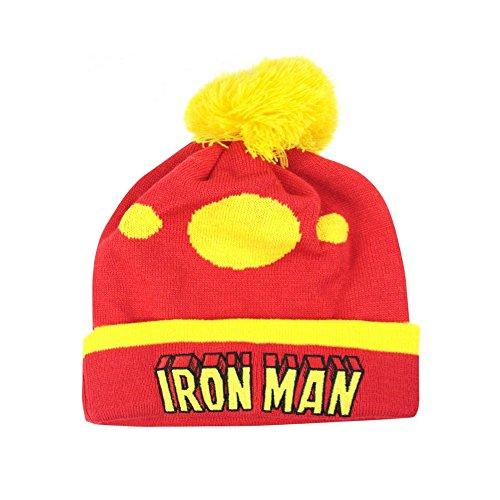 Iron Man Offizielle Unisex Retro Original Bommel-Mütze (One Size) (Rot/Gelb)