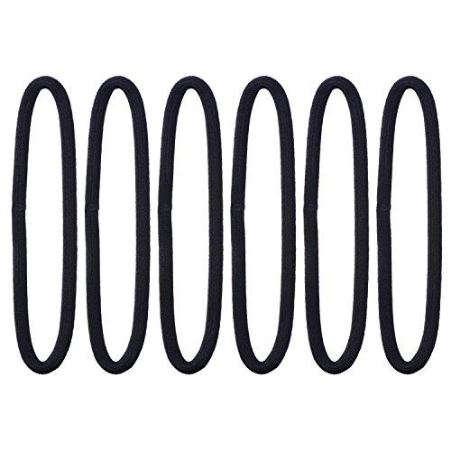 6 Stück Sport Stirnbänder Dünn Elastisches Haarbänder Yoga Stirnbänder für Damen und Herren, Schwarz (Schwarz, Stirnband Stirnband)