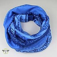 Rund-Schal Loop Damen blau warm & kuschelig Jersey-Stoff HANDMADE