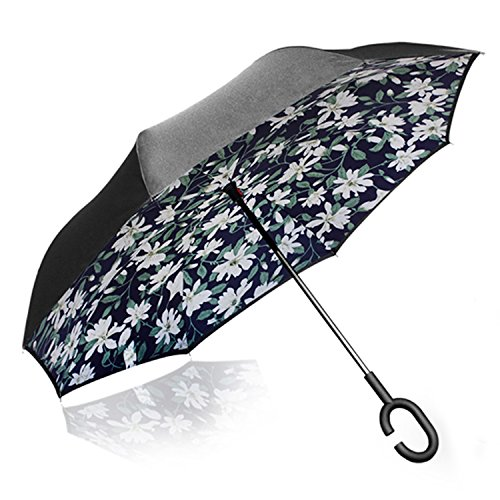 GEEKERBUY Reverse Folding Umbrella Double Layer Inverted Umbrella Windproof and UV Protection Travel Umbrella with C-Hook for All Weather