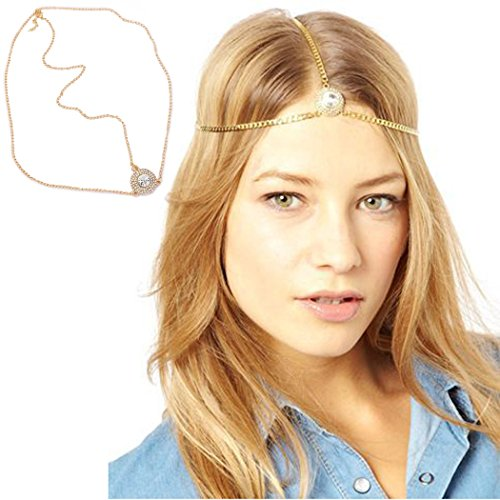 Jovono oro testa catene gioielli con strass copricapo fascia per capelli per donne
