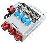 Pro-Lift-Montagetechnik Baustromverteiler, 32A Stromverteiler, Wandverteiler 1x32A, 2x16A, 4x230V, VD732A, 02141
