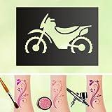 Tattoo Schablonen Bike Selbstklebend Kinderschminken Airbrush Größe 50 Stk
