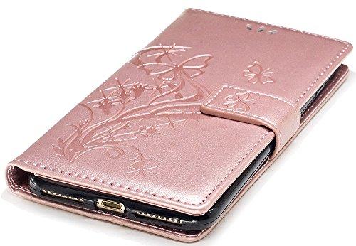 Iphone 7 Plus Coque silicone, Iphone 7 Plus Accessoire, Coque Iphone 7 Plus silicone, Nnopbeclik® Mode Wallet/Portefeuille en Bonne Qualité PU Cuir Housse (5.5 Pouce) Papillon et Fleur de Gaufrage Sty roseor