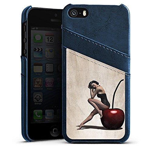 Apple iPhone 5s Housse Outdoor Étui militaire Coque Pin up Vintage Rétro Collection Femme Étui en cuir bleu marine