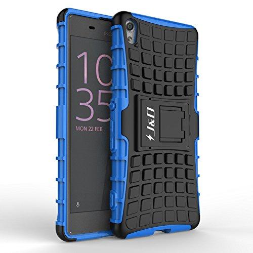 Sony Xperia XA Hülle, J&D [Standfuß] [Doppelschicht] [Heavy-Duty-Schutz] Genaue Passform Hybride Stoßfest Schutzhülle für Sony Xperia XA –Blau