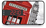 """BigBen RR15TB2 - Radio despertador (pantalla LED de 2"""", función siesta, con doble alarma y función snooze, altavoz integrado), diseño de Londres, multicolor"""