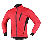 iCREAT Herren Jacket Air Jacket Winddichte MTB Mountainbike Jacket Visible reflektierend, Fleece Warm Jacket, Rot Gr.M