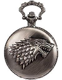 Sibosun Antique Manner Pocket Watch Arabic Numerals with Chain Box Eagle/Deer Reindeer/Chinese Dragon Wolf WOLFE