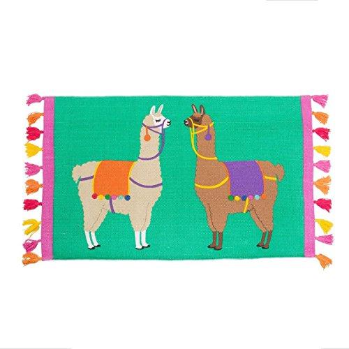 Sass & Belle Lima Lama Baumwolle Teppich mit Quasten, 100x 54cm