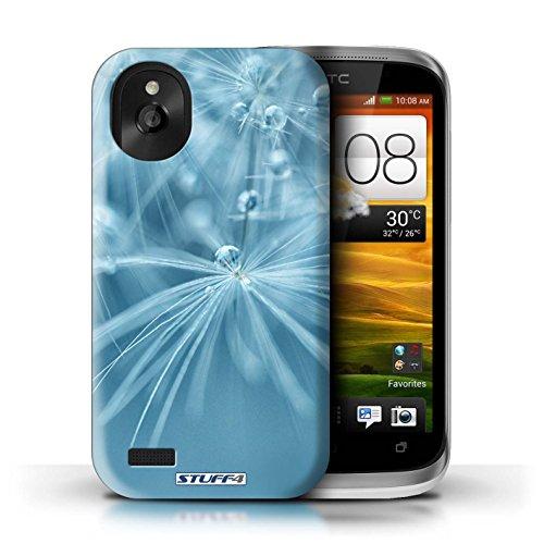 Kobalt® Imprimé Etui / Coque pour HTC Desire X / Fleur Vert conception / Série Gouttes de Fées Fleur Bleu
