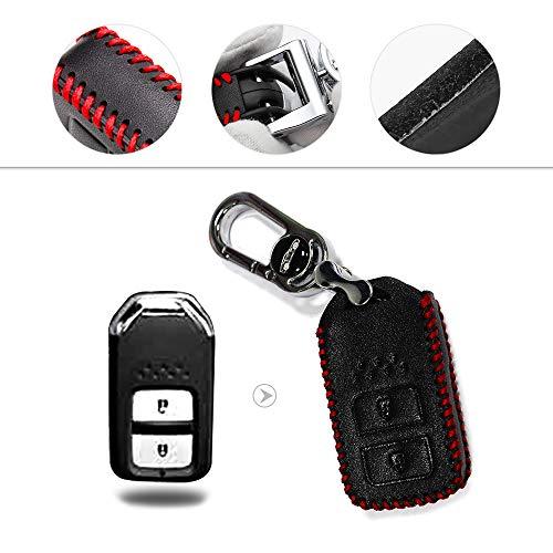Muchkey Hand nähen Echt-Leder Schlüsselcover Autoschlüssel hülle Schutz hülle für Accord City Civic CR-V HR-V Passender Odyssey Smart 2-Tasten-Schlüssel Rot 1 Stück (Honda Ridgeline Schlüssel Hülle)