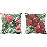 YaYa cafe Printed Stylish Floral Flower Throw Cushions Pillow Covers 20x20 inches for Home Decor Sofa Chair Bedroom Living Room - Set of 2