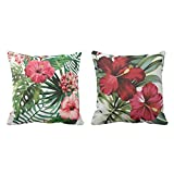 TYYC New Year Gifts for Home Stylish Floral Pattern Printed Cushion Covers Set of 2 - 16x16 inches