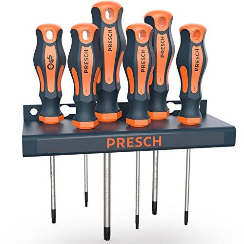 Presch Schraubendreher Set TX 6-tlg mit Wandhalterung TÜV - GS geprüft - Magnetische Sternschraubenzieher - Schraubenzieher Satz - Profi Werkzeug