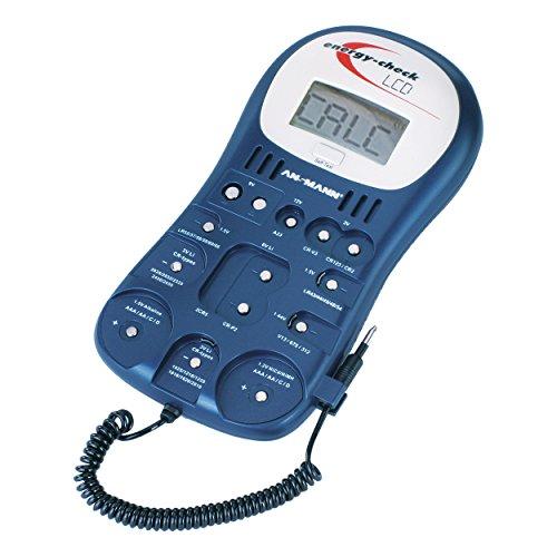 ANSMANN Energy Check LCD Batterietester / Zuverlässiges Akkutestgerät zum Anzeigen von Kapazität, Spannung & Energiegehalt / Kapazitätsanzeige für Akkus, Batterien & Knopfzellen