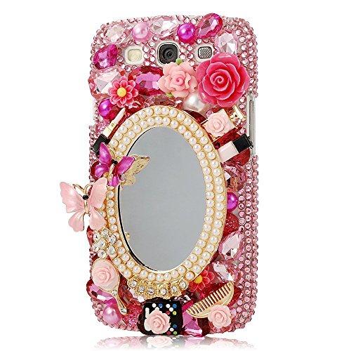 Samsung S3 Hülle, Galaxy S3 Hülle - EVTECH (TM) 3D Handmade Bling Kristall Netter Schmetterling Schein-Glitter Rosa Blumen Gehäuse Hülle für Samsung Galaxy S3 I9300 T-Mobile T999 L710 Sprint / T999 T-Mobile / I747 AT & T / Verizon i535 (Verizon-handys-zubehör)