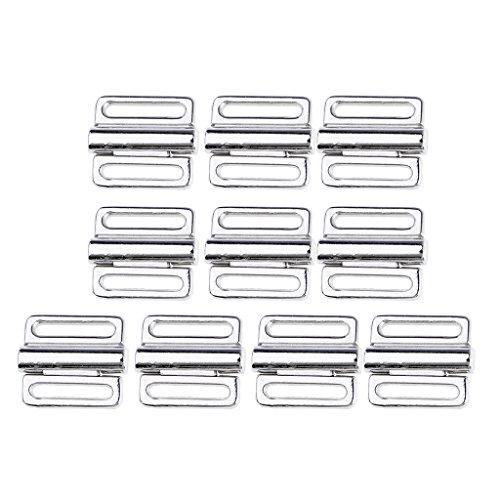 B Blesiya 10 Paar Metall BH Clip Bademode Klicker Bikini Vorne Verschluss Schnalle Clips - Silber, 10 mm