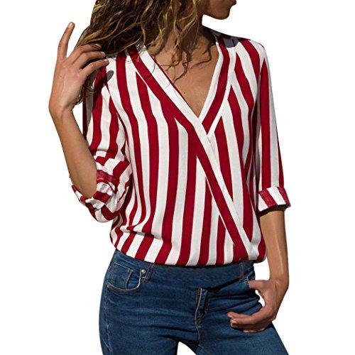 ❤️Camisas Mujer,Modaworld Blusa de Oficina de Trabajo Irregular de Rayas de Las Mujeres Top Camiseta Elegantes de Fiesta niña Camisa de Manga Larga Otoño señoras