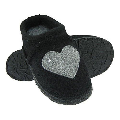 GALLUX - Mädchenschuhe Hausschuhe flache Damen Pantoffeln Schwarz