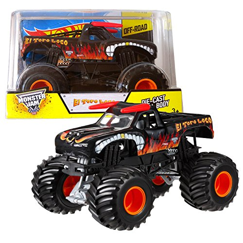 1 Jam-trucks Monster Diecast 24 (Hot Wheels Year 2014 Monster Jam 1: 24 Scale Die Cast Official Monster Truck Series # bgh42 – Black Color EL TORO Loco with Monster Tiers, Working Hängeleuchte and 4 Wheel Steering (Dimension – 7 l x 5 – 1/2 W x 4 – 1/2 H) by Monster Jam)
