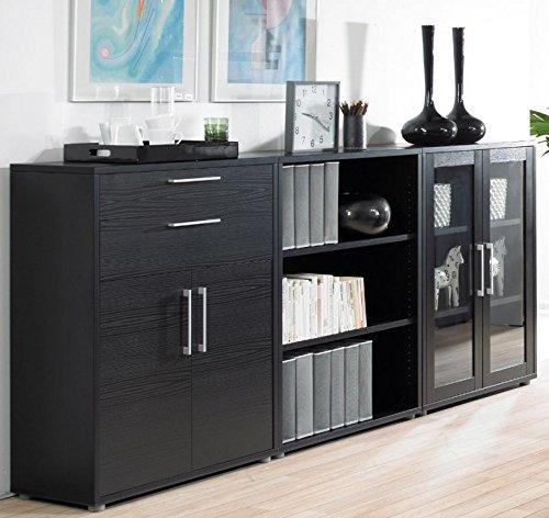 Schwarze Schrankwand - Bürowand in Esche Schwarz