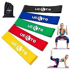 Idea Regalo - Elastici e Bande di resistenza loop, esercizio band per palestra, allenamento fitness fascia di resistenza stretch tuta per uomo donna Cross Fit pilates/yoga, fianchi gambe glutei forza allenamento di resistenza band set di 5