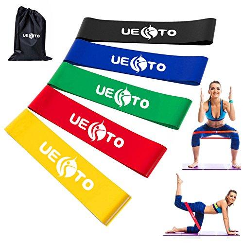 Elastici e bande di resistenza loop, esercizio band per palestra, allenamento fitness fascia di resistenza stretch tuta per uomo donna cross fit pilates/yoga, fianchi gambe glutei forza allenamento di resistenza band set di 5