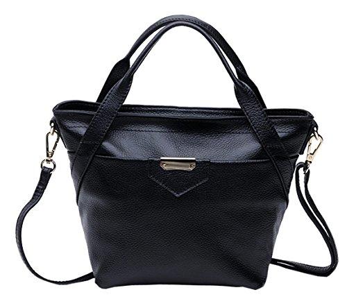SAIERLONG Neues Damen K?nigsblau Rindleder-Echtes Leder Damen Handtaschen Schultertaschen Schwarz