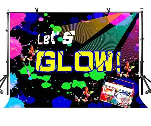 Sie Uns im Dunkeln leuchten Thema Geburtstag Kulisse für Erwachsene Teen Blacklight Tween Neon Doodle Disco Rainbow Sleepover Party LYLX893 ()