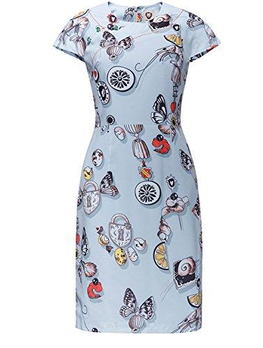Ärmel Eleganz Show Shirt (Good dress Bedruckte T - shirt - kleid,Blau,XL)