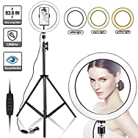 "‏‪10"" Selfie Ring Light with 210CM Long Tripod Stand & Cell Phone Holder - Ring Light for iPhone Android, Light Stand for Live Stream/Makeup, YouTube Video Photography(210CM)‬‏"