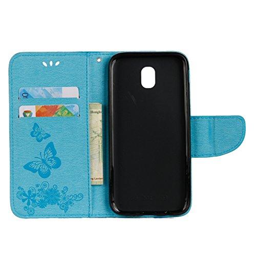 Cover Samsung Galaxy J3 2017 (J330), Alfort Custodia Protettiva in Pelle Verniciata Goffrata Farfalle e Fiori Alta qualità Cuoio Flip Stand Case per la Custodia Ci sono Funzioni di Supporto e Portafog Blu