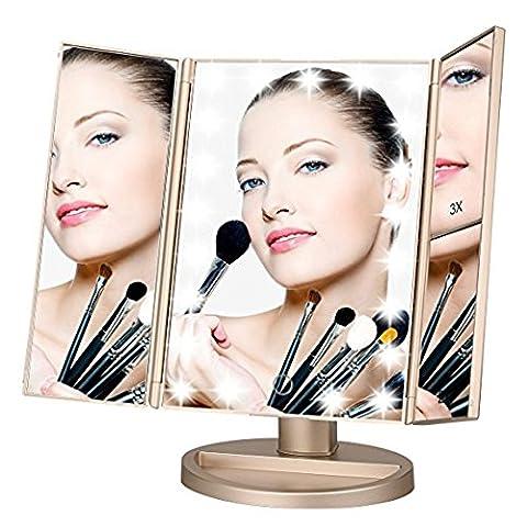 Miroir Triptyque de Maquillage, Grossissement 2X3X et 1X Eclairage Naturel à 21 LED, Ecran Tactile, Rechargeable via Port Micro-USB , Ajustable sur 180° pour Un Maquillage Parfait (Or)