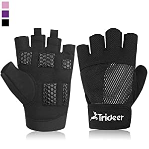 Trideer Damen Fitness Handschuhe für Hand Schutz Grip, Atmungsaktiv Trainingshandschuhe für Bodybuilding, Krafttraining und Wodies