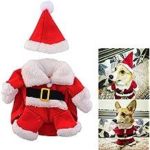 SYMTOP Disfraz Navideño de Papá Noel para Perro Pequeño con Gorro de Navidad para Mascotas Accesorios