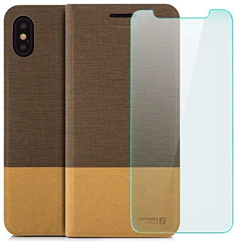Custodia iPhone X Cover + Vetro Temperato Flip Wallet [Zanasta Designs] Case Copertura con Portafoglio - Pieghevole con Porta Carte, Alta Qualità Grigio Marrone