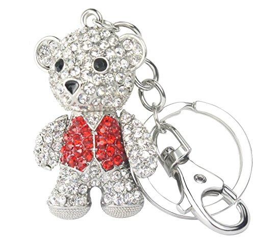 QUADIVA Bag Charm Teddybär Taschenanhänger für Damen (Farbe: silber/rot) mit Kristallen besetzt