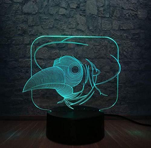 E27 Retro Lüster Wandlampe Frame3D Niedlichen Tier Vogelkopf Maus Led Nachtlicht Illusion Atmosphäre Multicolor Schlafzimmer Schlaf Lampe Dekoration Urlaub Geschenk Spielzeug