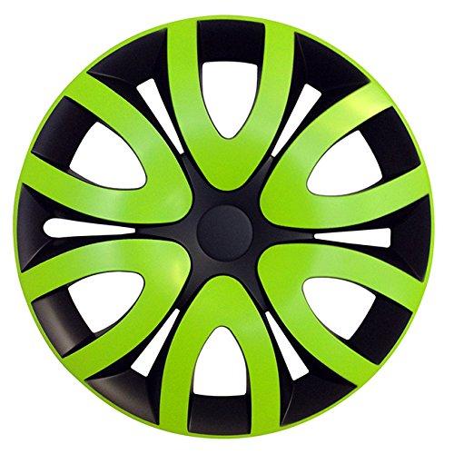 (Größe wählbar) 15 Zoll Radkappen / Radzierblenden MIKA Schwarz/Grün passend für fast alle Fahrzeugtypen – universal
