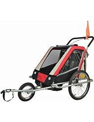 Jogger Remorque à Vélo 2 en 1, pour enfants + Amortisseur 503-01 Rouge/Noir/Gris