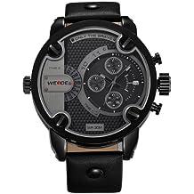 Alienwork DualTime Montre quartz Fuseaux horaires multiples quartz XXL Oversized Cuir noir noir OS.WH-3301-B-3