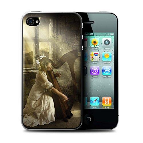 Officiel Elena Dudina Coque / Etui pour Apple iPhone 4/4S / Violoncelle/Nuages Design / Réconfort Musique Collection Harpe/Harpiste