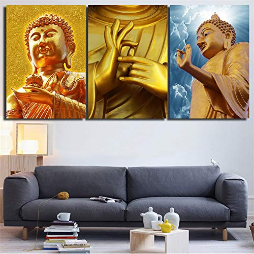 WSNDGWS Moderne dreifache HD Inkjet kreative religiöse Buddha-Statue dekorative Malerei ohne Bilderrahmen B2 40x60cmx3