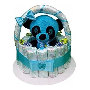 Windeltorte, Korb aus Windeln blau, Geburt, Taufe, Geschenk für Jungen, Baby Party, Pampers Gr.3, Kuscheltier-Panda